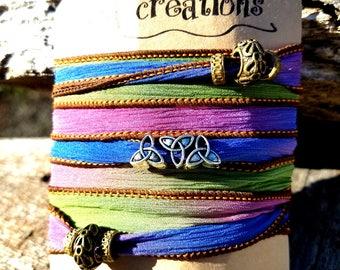 Custom Wrap Bracelet, Custom Beaded Silk Wrap, Bracelet Mother's Day Gift, Custom Yoga Bracelet, Custom Boho Bracelet, Custom Gypsy Bracelet