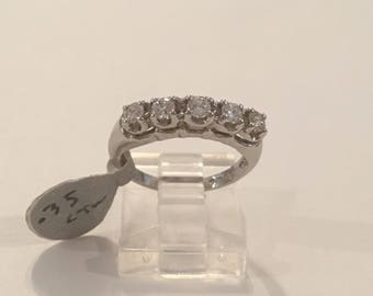 Vintage Tru Glo 14K White Gold Diamond Wedding Anniversary Band Ring, Stackable Ring