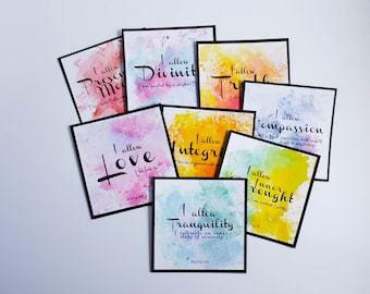 Hand-deorated Affirmation Cards, Mantra Cards