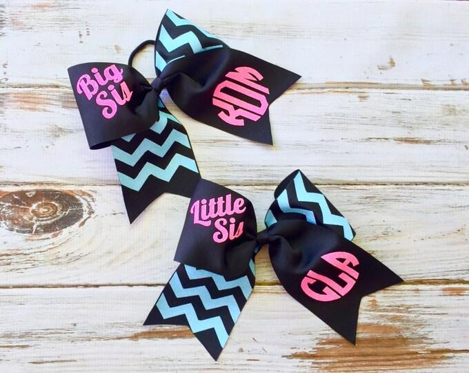 Monogram Cheer Bows, Hair Bows, Monogrammed Gifts, Big Sis Little Sis Cheer Bows, Set of Two Cheer Bows - Team Discount Cheer Bows