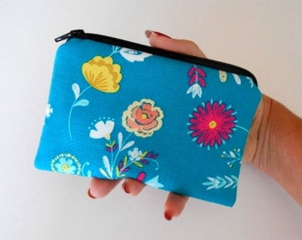 Zipper Coin Purse Zipper Pouch Little Padded Coin Purse ECO Friendly NEW Wildflowers on Teal