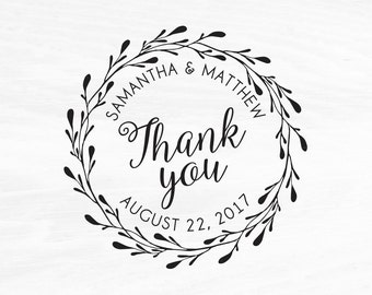 Wedding Stamp, Wedding Favors, Custom Rubber Stamp, DIY Wedding Stamp, Thank you Stamp. Custom Stamp 2x2in, 3x3in, or 4x4in - W10