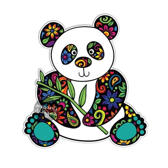 Panda Car Decal Colorful Flowers Design Bumper Sticker
