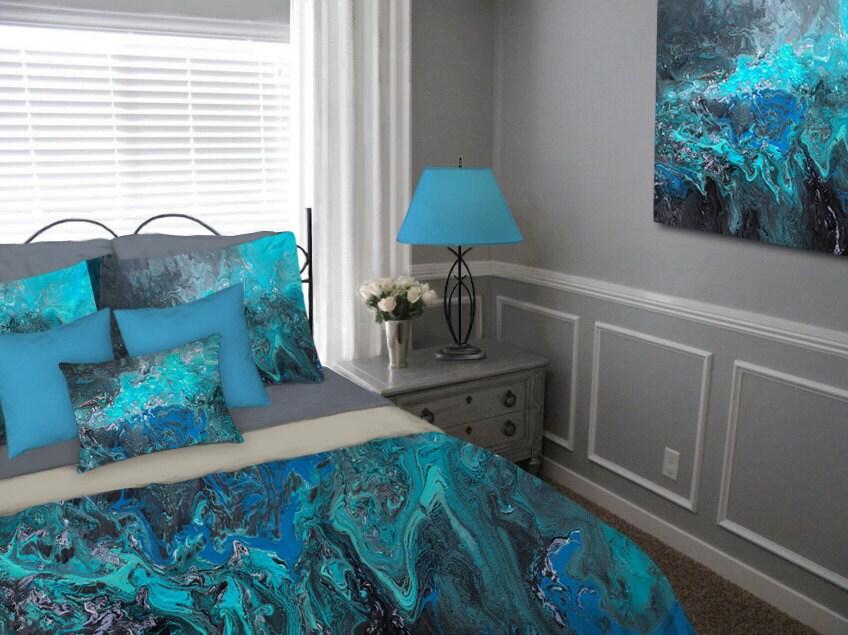 duvet cover teal turquoise blue black gray aqua bohemian