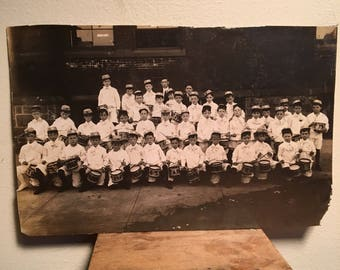 Antique Mounted Photograph of a Large Group of Drummer Boys, Early 20th Century Antique Photo