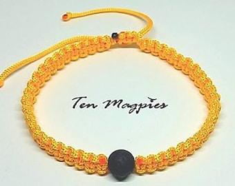 Yellow Square Knot Macramé and Black Lava Stone Bracelet