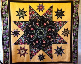 Quilted throw, lap quilt, art quilt