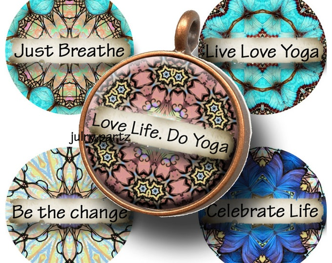 EUPHORIA YOGA Circle 1x1 Circle Images,  Printable Digital Images, Cards, Gift Tags, Scrabble Tiles, Magnets