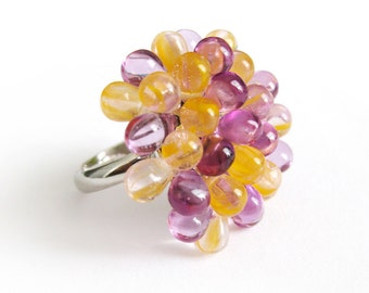 Yellow & Lilac Berry Cocktail Ring - Limited Edition cocktail ring, glass beaded ring, clustered ring, casual jewelry Pantone Radiant Orchid