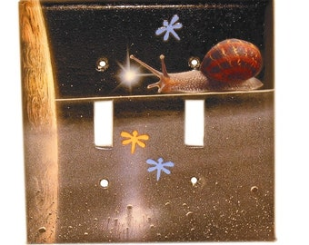 Traveling Snail on Jupiter - Recycled Double Light Switch Plate Cover, Space, Celestial, Planet, Dragonfly, Star, Collage, Seattle, OOAK
