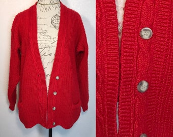 80s Red Oversized Cardigan Sweater