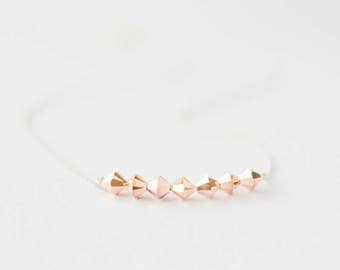 Rose Gold Bead Necklace, RoseGold Necklace, Gift for Her