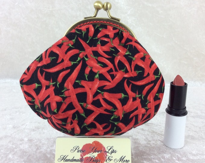 Chillis coin purse wallet fabric kiss clasp frame wallet change pouch handmade Chilli Peppers