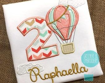 Hot Air Balloon Birthday Shirt / Hot Air Balloon Applique / Hot Air Balloon Party / Hot Air Balloon Shirt / First Birthday Shirt