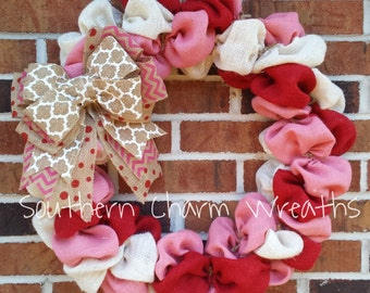Red, white, and pink burlap Valentine's Day wreath