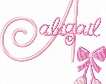 Ballet Shoes Machine Embroidery Design Monogram Font Set