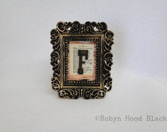 Mini Framed Rustic Letter F on Vintage Dictionary Page
