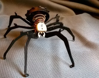 Elixia, a black steampunk spider from typewriter parts, industrial, repurposed upcycled art, steampunk home décor