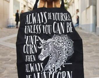 Tote Bag Black Unicorn Mandala