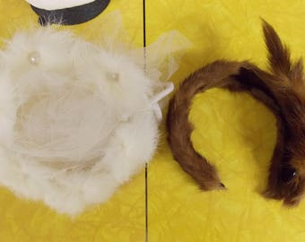 2 small vintage hats, fur, white pronged white fur beaded with white very short veil/netting, brown fur over brown headband with fur accents