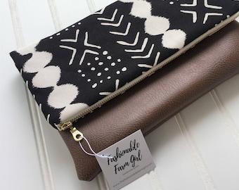 Mudcloth foldover clutch - vegan leather foldover bag - bridesmaid gift - Mud cloth clutch -fold over clutch-vegan leather clutch bag-