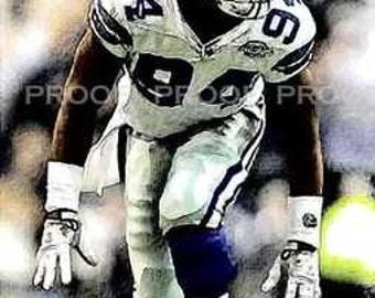 New DeMarcus Ware Dallas Cowboys Art Print LE 50 12x18