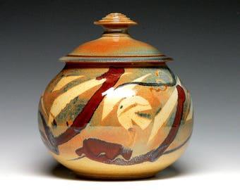 Hand Thrown Urn, Ceramic Pet Urn, Stoneware Cremation Urn, Lidded Jar, Kitchen Storage Jar