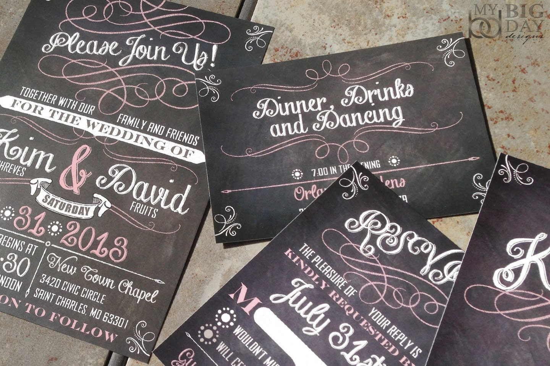 Chalkboard Art Script and Flourish Wedding Invitations. Trendy