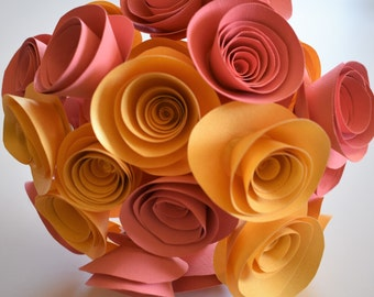 Coral and Gold Paper Flowers, Wedding Flowers, Paper Flower Bouquet, Paper Roses