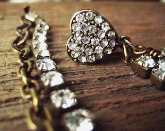 Heart Bracelet, Rhinestone Heart, Heart Clasp, Crystal Rondelle, Vintaj Brass, Rhinestone Chain, candies64, Swarovski Element
