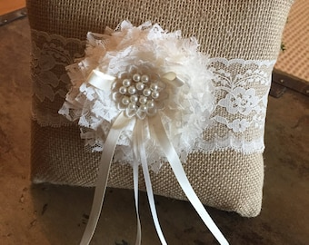 Burlap Ring Bearer Pillow with Ivory Lace Flower
