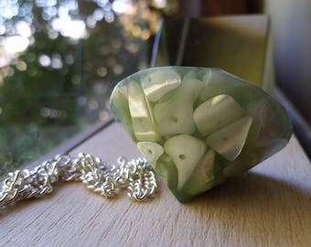 Necklace: green resin and mother-of-pearl pendant on silver chain; Halloween, Goth; gift for her, gift for him