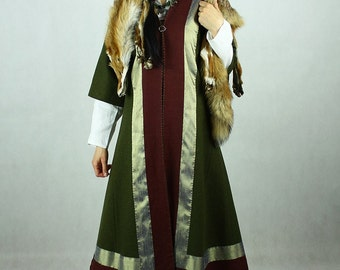 Early Medieval coat with silk hems , for woman, Viking coat  form Birka, Historical Pattern , Viking Reenactment, Viking Costume