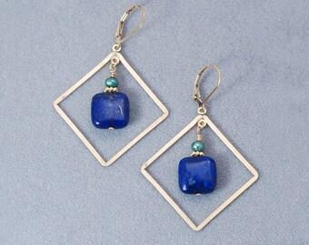 Lapis Lazuli earrings / Lapis and Gold earrings / Lapis jewelry / Lapis earrings / Lapis gold earrings / Lapis Lazuli stone / Blue earrings