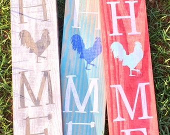Rooster Home Sign - Welcome - Rooster sign - Home sign with Rooster- Wooden home sign - Country wooden sign - Rustic sign - Farm Sign - Coop