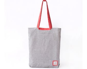Zippered Striped Linen Tote with Orange Pink strap