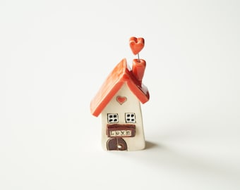 Ceramic Love House, Miniature House, I Love my Home, Small House