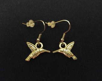 HUMMINGBIRD Charm Earrings Stainless Steel Ear Wire Silver Metal Unique Gift