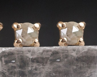 4mm Stone Warrior Studs | 14k Gold and Diamond Earrings