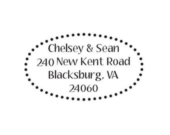 custom return address rubber stamp dotted oval border