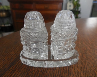 Vintage 1940s to 1960s Tiny Crystal Made in Czechoslovakia Salt and Pepper Shakers With Tray Little Small