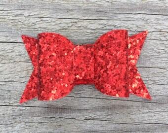 Red Glitter Hair Clip, Glitter Hair Clip, Glitter Hair Bow, Glitter Bow Hair Clip, Red Hair Clip, Glitter Bow Clippie, Red Hair Bow