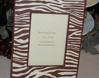 Animal Zebra Print Brown and Beige Wooden Picture Frame