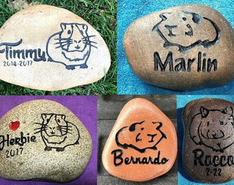 """GUINEA PIG / HAMSTER / Gerbil Memorial Stone 8"""",6"""",4.5"""" (approx sizes) Engraved&Personalized with Name also Option to add Date, small Heart"""