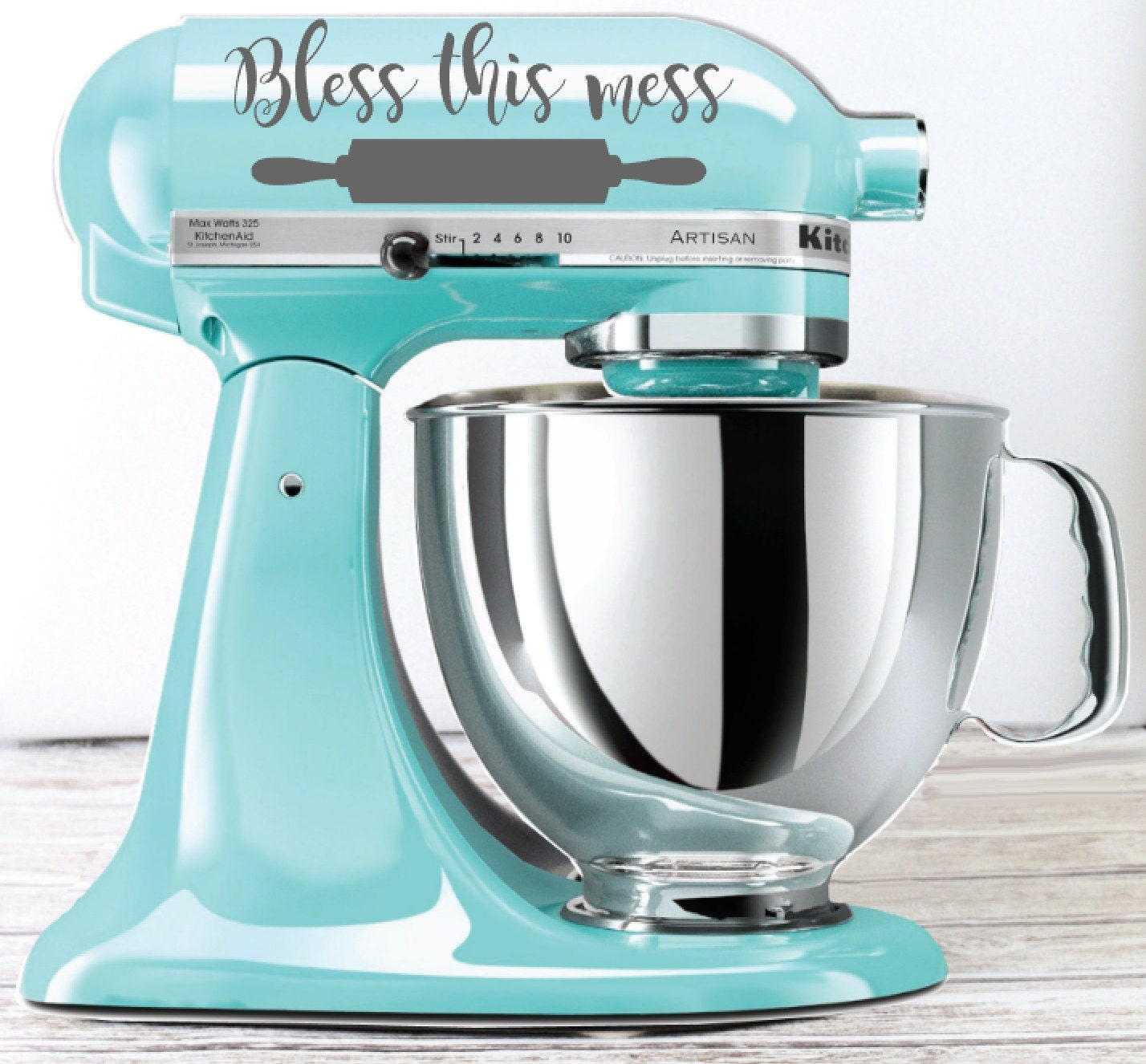 Bless this Mess Kitchen Mixer Decal Rolling Pin decal