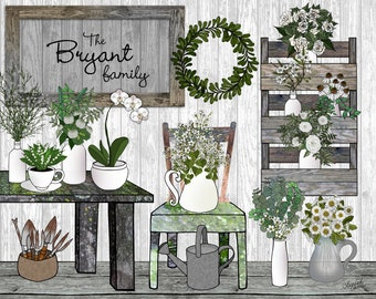 Personalized garden art print, florist, flower shop, barnwood, kitchen art, bathroom art print, garden lover, gardener gift,Mothers Day gift