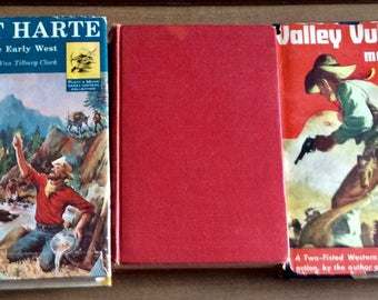 3 Vintage WESTERN NOVELS 2 with Dust Jackets Trail Dust 1934, Valley Vultures 1946 and Stories of the Early West 1964