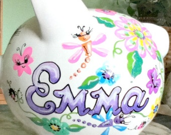 Personalized Piggy Bank Funky Flowers and Butterflies Handpainted