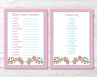Cute Owl Baby Word Scramble Game / Owl Baby Shower / Bird & Owl / Woodland Owl / Baby Shower Word Scramble / INSTANT DOWNLOAD A361