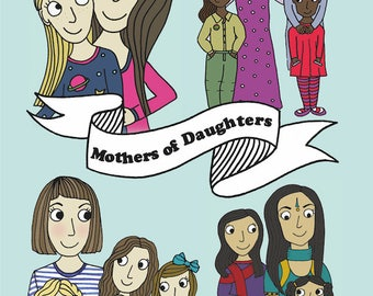 Mothers of Daughters - greetings card reproduced from an original drawing by Susannah Jeffries